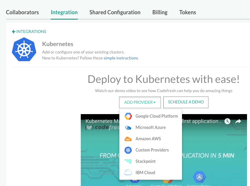Add New Kubernetes Provider to Codefresh